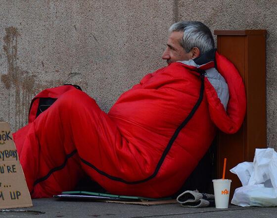 homeless man sleeping rough