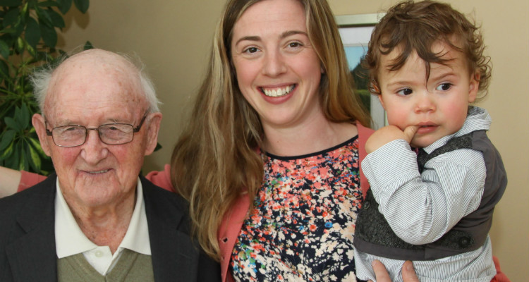 Peter Finn with Daughter and grandchild