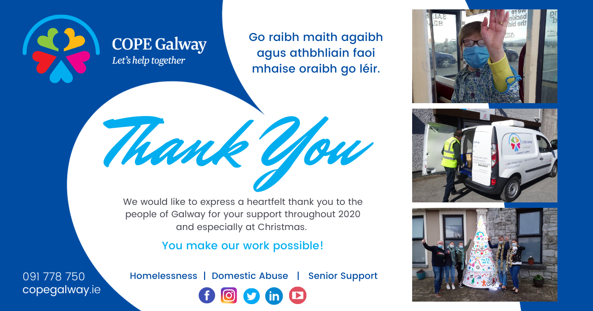 thank you message from cope galway