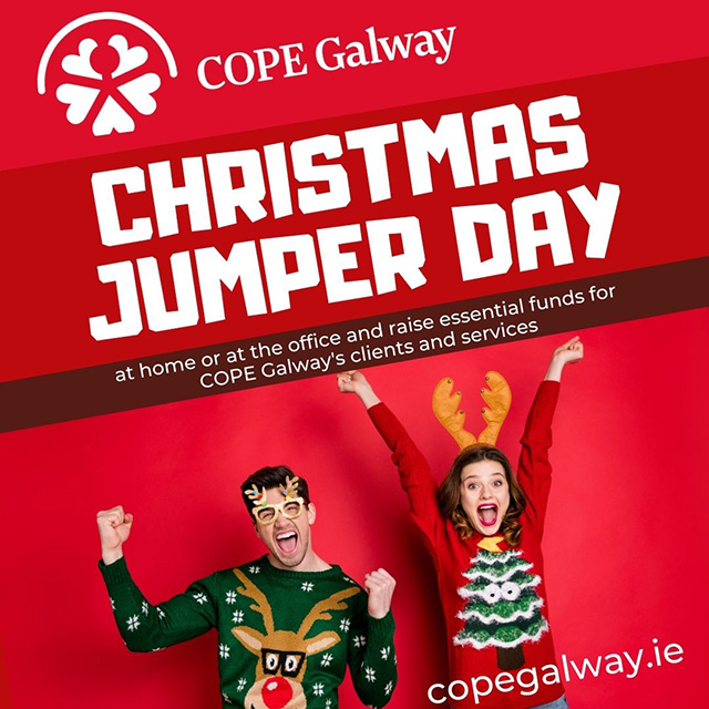 cope galway christmas jumper poster