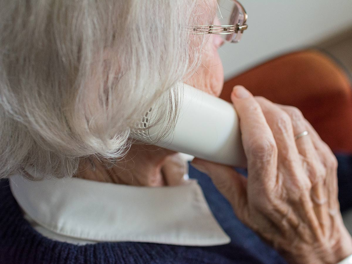 elderly woman on phone